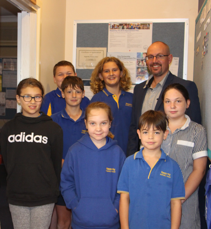 Napperby Primary School Principal with students